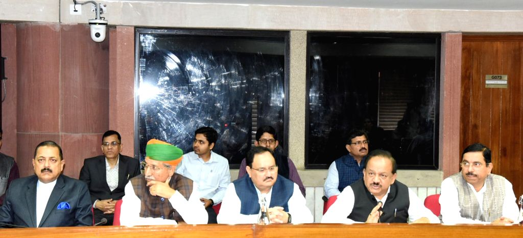 Union Health & Family Welfare, Science & Technology and Earth Sciences Minister Harsh Vardhan chairs a meeting with the Members of Parliament and Doctors, on Novel Coronavirus ... - Harsh Vardhan, Ministers Jitendra Singh, Pralhad Joshi and M