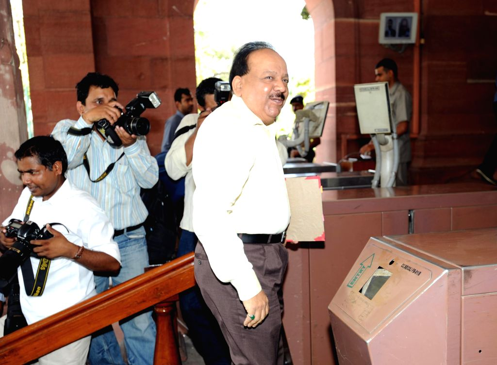 Union Health Minister Dr. Harsh Vardhan arrives at the Parliament to attend Budget Session 2014-15 in New Delhi on July 10, 2014.