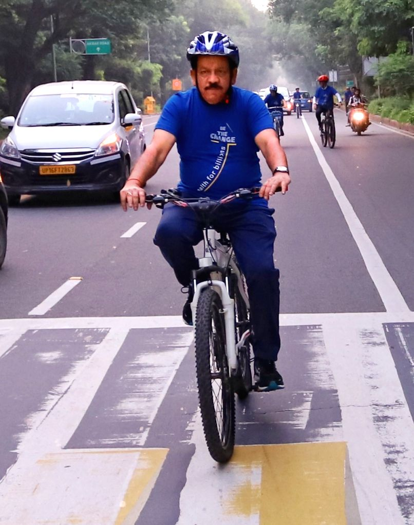 Union Health Minister Dr Harsh Vardhan cycles to the venue of the 72nd session of World Health Organization (WHO) Regional Office for South-East Asia (SEARO) in New Delhi on Sep 3, 2019. - D