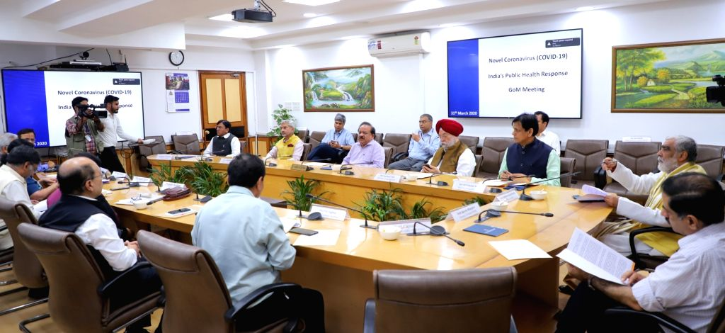 Union Health Minister Harsh Vardhan chairs a high level meeting of the Group of Ministers (GoM) to review the current status and actions for prevention and management of COVID-19 ... - Harsh Vardhan, Mansukh L. Mandaviya, S. Jaishankar, Hardeep Singh Puri, Nityanand Rai and Ashwini Kumar Choubey