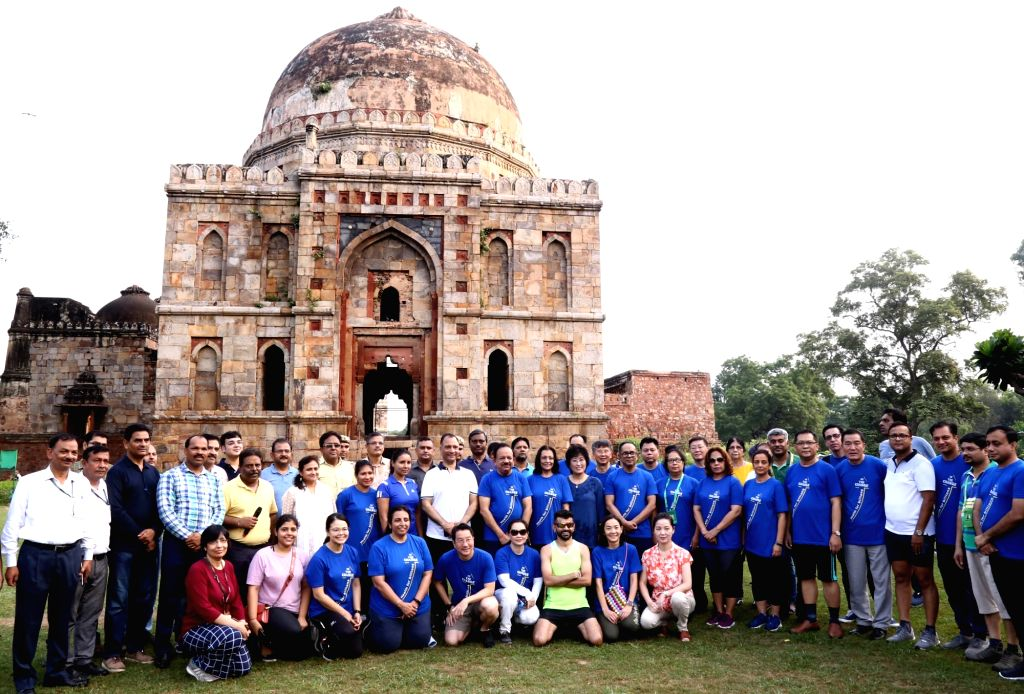 Union Health Minister Harsh Vardhan during the 72nd Session of the WHO Regional Committee for South-East Asia (SEA) for an invigorating walk through the wooded lawns of Lodhi Gardens, in ... - Harsh Vardhan
