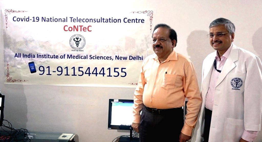 Union Health Minister Harsh Vardhan launches the COVID-19 National Teleconsultation Centre (CoNTeC) at All India Institute of Medical Sciences, in New Delhi on March 28, 2020. - Harsh Vardhan
