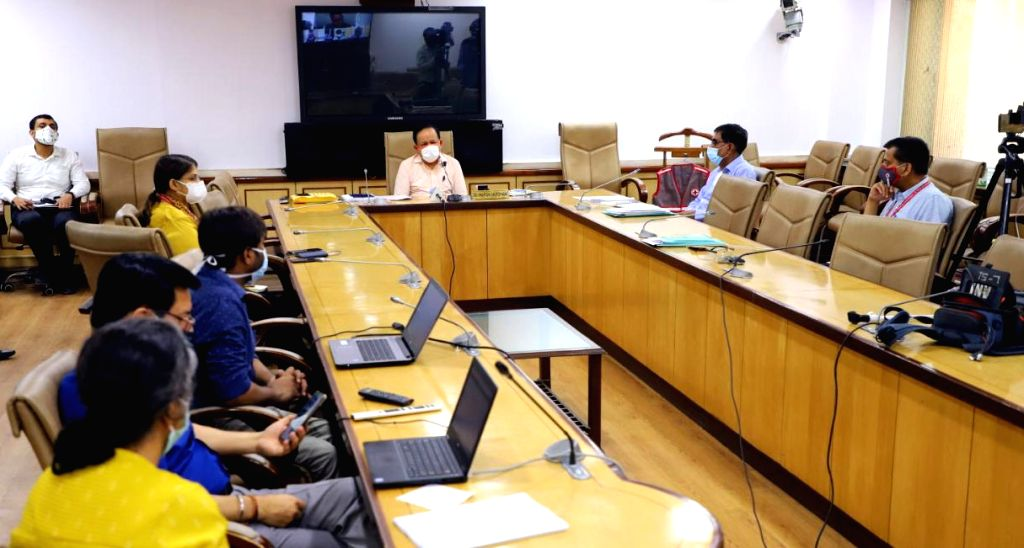 Union Health Minister Harsh Vardhan launches the ???eBloodServices??? Mobile App developed by the Indian Red Cross Society (ICRS), through video-conferencing, in New Delhi on June 25, 2020. - Harsh Vardhan