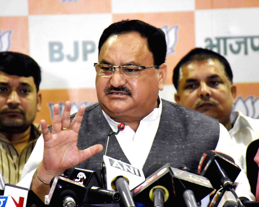 Union Health Minister J P Nadda addresses a press conference in Patna, on Oct 24, 2015.