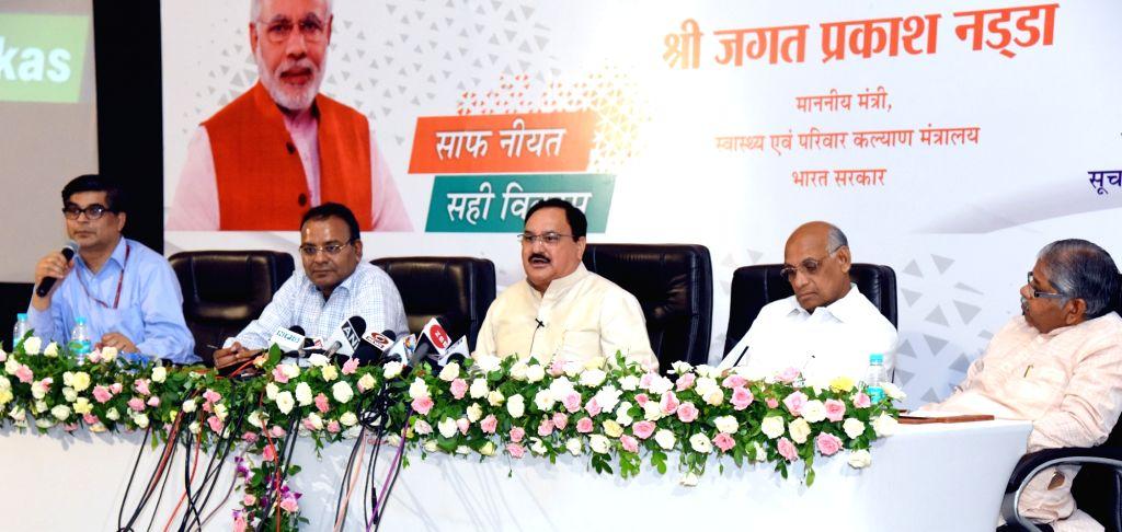 Union Health Minister J.P. Nadda addresses a press conference, in Raipur, Chhattisgarh on June 4, 2018. - J.