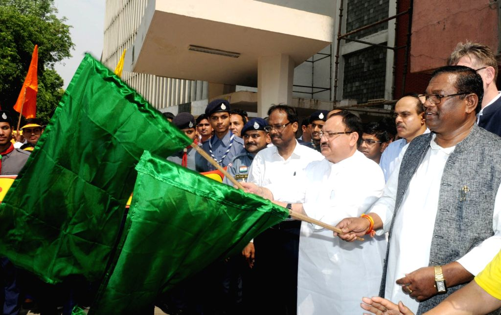 Union Health Minister J.P. Nadda flags off a walkathon on World No Tobacco Day 2017 in New Delhi on May 31, 2017. - J.