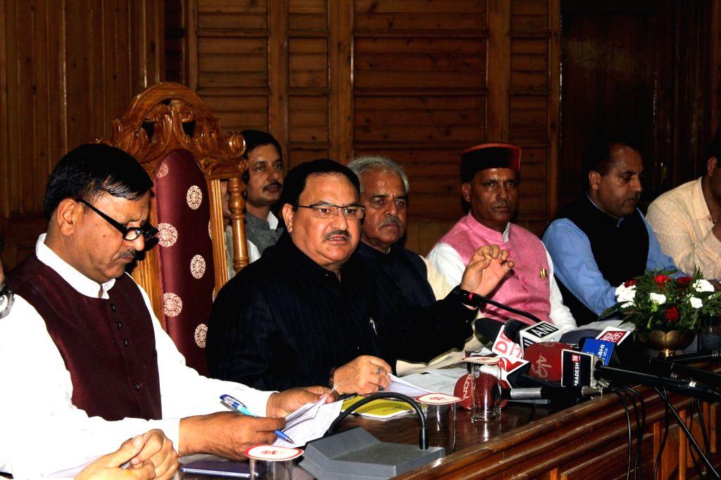Union Health Minister JP Nadda addresses a press conference in Shimla on July 4, 2016. - J