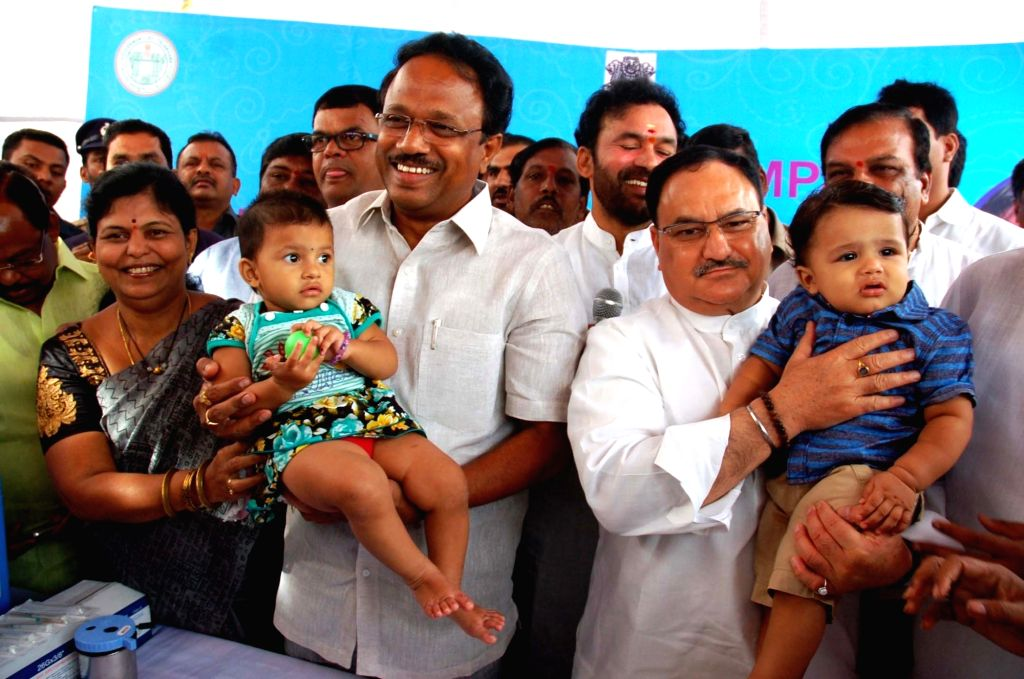 Union Health Minister JP Nadda at the 'Special IPV Campaign', at Amberpet, in Hyderabad on June 24, 2016. - J