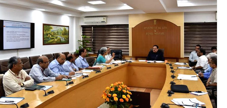 Union Health Minister JP Nadda chairs a meeting to review the preparedness of the Ministry for prevention and control of vector borne diseases in New Delhi, on July 4, 2017. - J