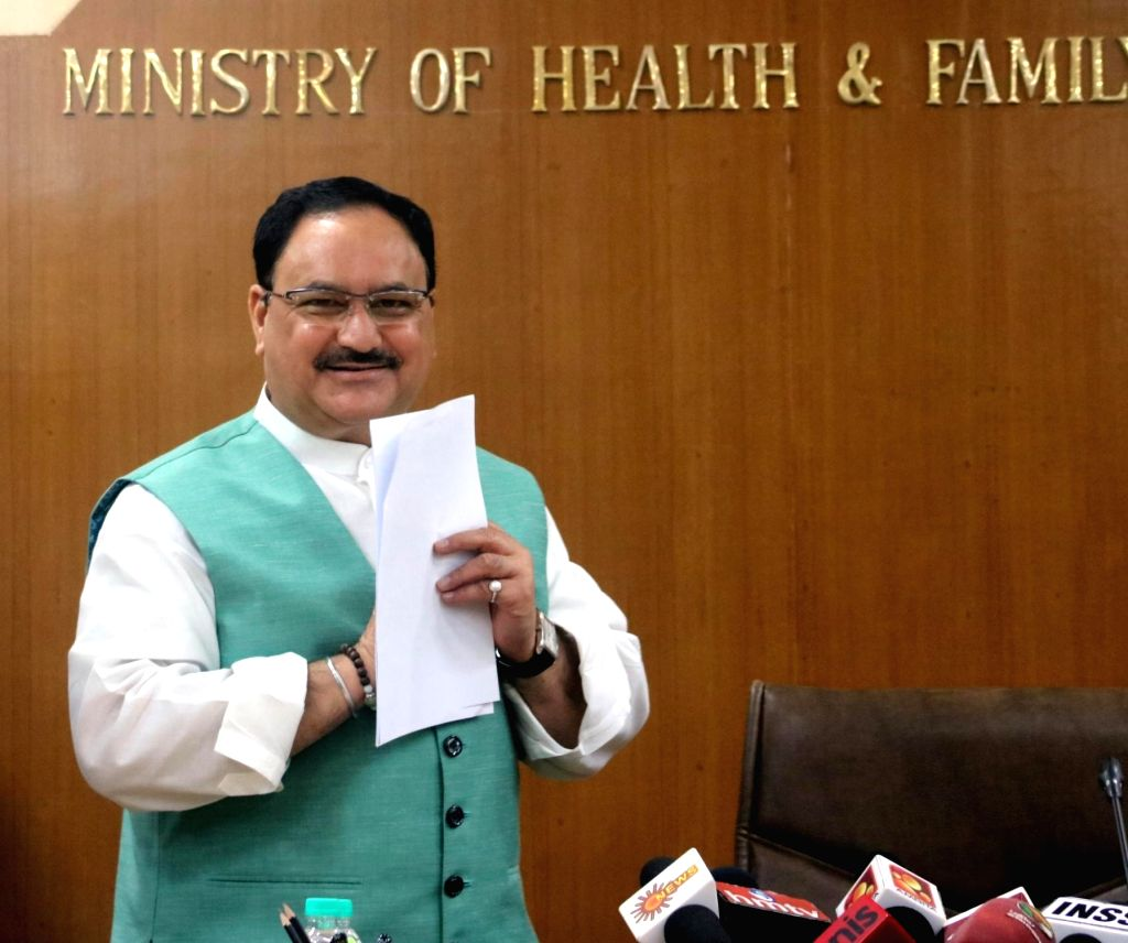 Union Health Minster JP Nadda addresses a press conference in New Delhi on May 24, 2016.