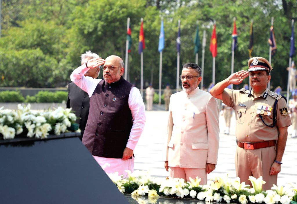 Union Home Affairs Minister Amit Shah pays homage to martyrs at the National Police Memorial, in New Delhi, on June 2, 2019. - Amit Shah