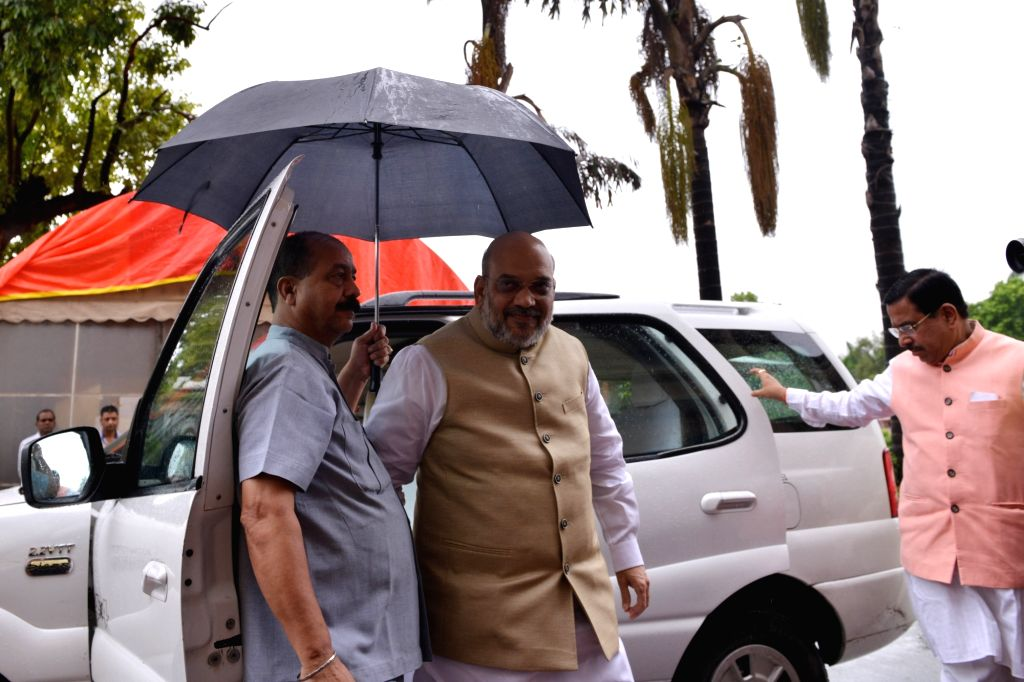 Union Home Minister Amit Shah arrives at Parliament in New Delhi on July 18, 2019. - Amit Shah