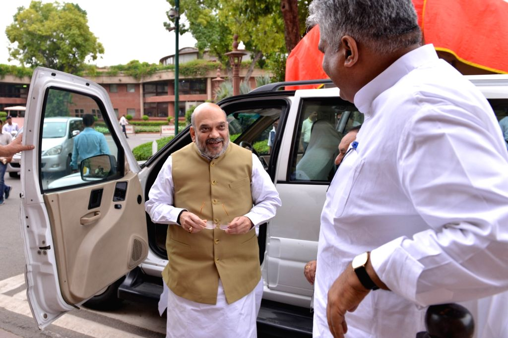 Union Home Minister Amit Shah arrives at Parliament, in New Delhi on July 25, 2019. - Amit Shah
