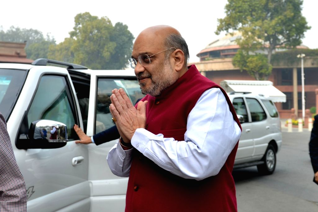 Union Home Minister Amit Shah arrives at Parliament in New Delhi on Dec 12, 2019. - Amit Shah