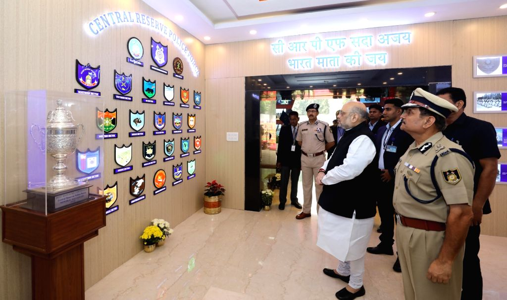 Union Home Minister Amit Shah at gallery of Gallantry Award Winners during his visit to the CRPF headquarters in New Delhi on Nov 15, 2019. - Amit Shah