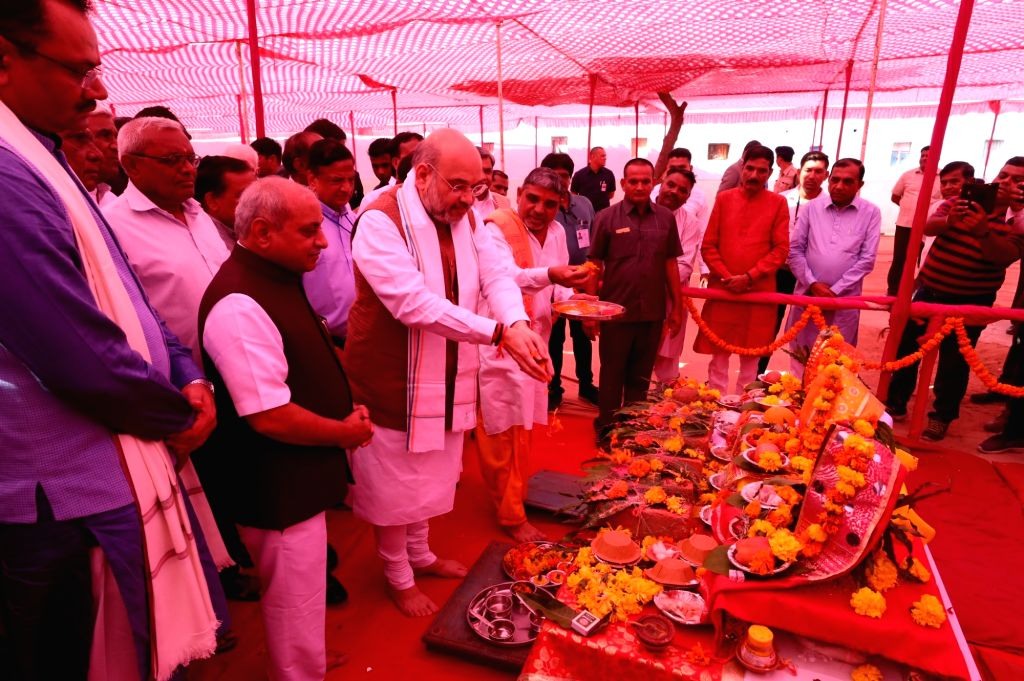 Union Home Minister Amit Shah at the inauguration of the newly built Guest House of Agricultural Produce Market Committee (APMC), Kalol and foundation stone laying of the new office ... - Amit Shah