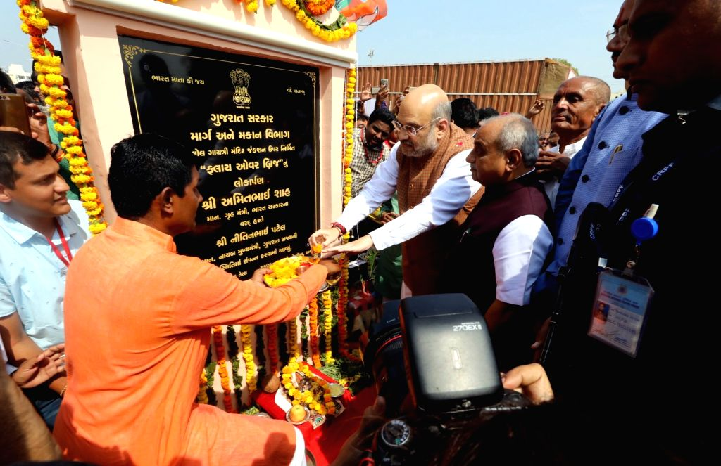 Union Home Minister Amit Shah at the inauguration of a flyover bridge in Kalol, Gandhinagar on Oct 25, 2019. - Amit Shah
