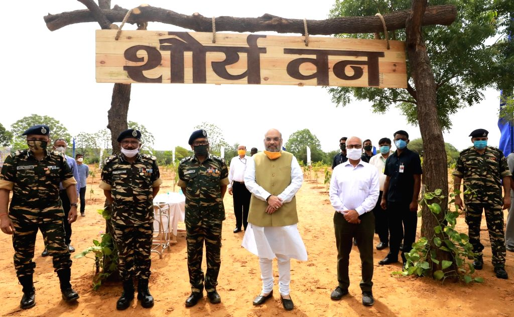 Union Home Minister Amit Shah, CRPF DG A.P. Maheshwari and Home Secretary Ajay Kumar Bhalla at the launch of the nationwide tree plantation drive by the Central Armed Police Forces (CAPFs) ... - Amit Shah