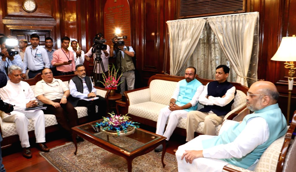 Union Home Minister Amit Shah during a meeting with the Ministers of State for Home Affairs G. Kishan Reddy and Nityanand Rai, after taking charge of office, in New Delhi on June 1, 2019. ... - Amit Shah, Nityanand Rai, R. Sharma and Rajiv Jain