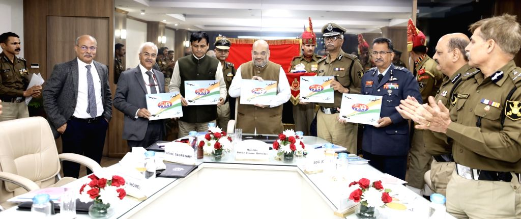 Union Home Minister Amit Shah during his visit to the BSF Headquarters in New Delhi on Dec 13, 2019. Also seen Union MoS Home Affairs Nityanand Rai and Home Secretary Ajay Kumar Bhalla. - Amit Shah and Affairs Nityanand Rai