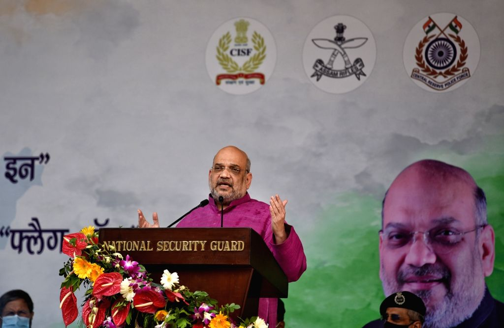 Union Home Minister Amit Shah Flag off to Central armed Police forces Cycle rally and Sudarshan Bharat Parikrama by NSG Commandos from Red Fort in New Delhi on Saturday October 02,2021 2021 - Amit Shah Flag