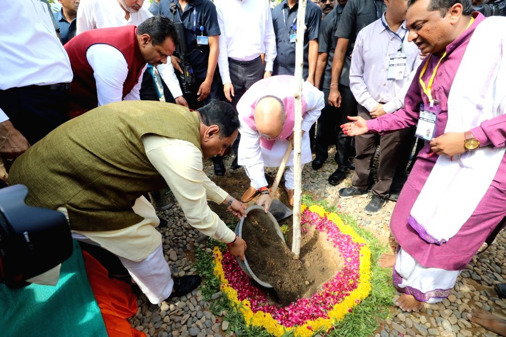 Union Home Minister Amit Shah participates in a plantation drive on the concluding day of the 'Mission Million Trees' campaign organised by Amdavad Municipal Corporation in Ahmedabad on ... - Amit Shah