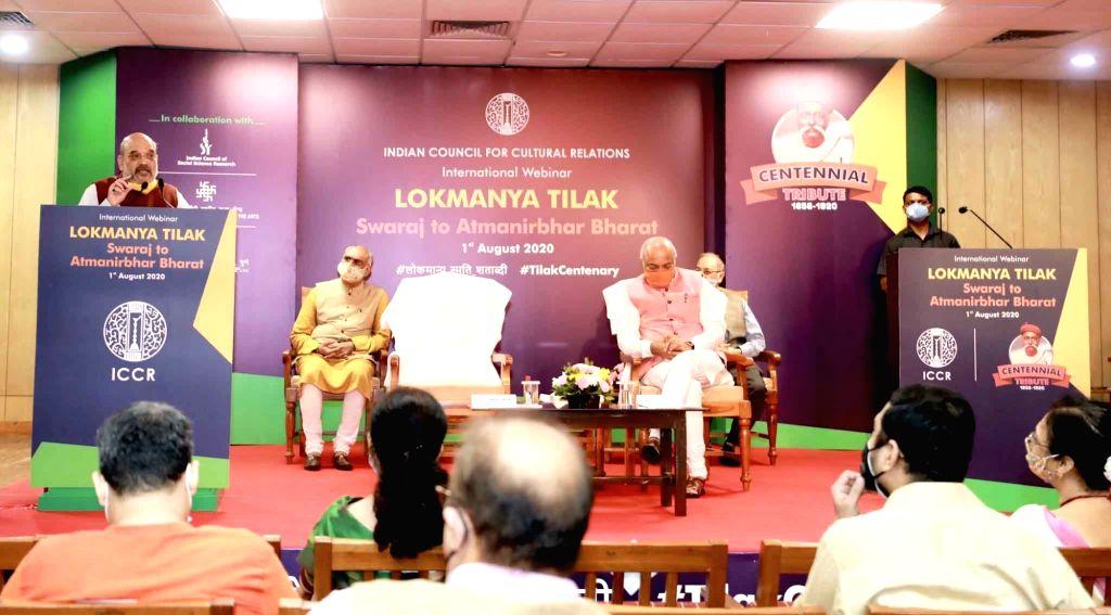 Union Home Minister Amit Shah pays tributes to Lokmanya Bal Gangadhar Tilak at the inauguration of the two-day international webinar on 'Lokmanya Tilak - Swaraj to Self-Reliant India' to ... - Amit Shah