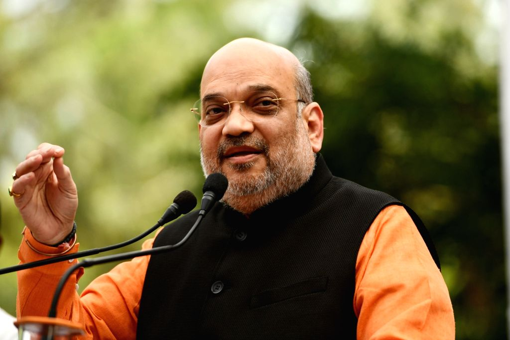 Union Home Minister Amit Shah speaks to media representatives, at his residence in New Delhi on Sunday 28th March, 2021. - Amit Shah