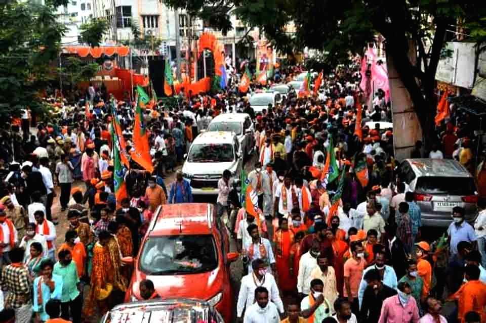 Union Home Minister Amith Shah  addressing road show and public meeting in Hyderabad on November 29, 2020. - Amith Shah