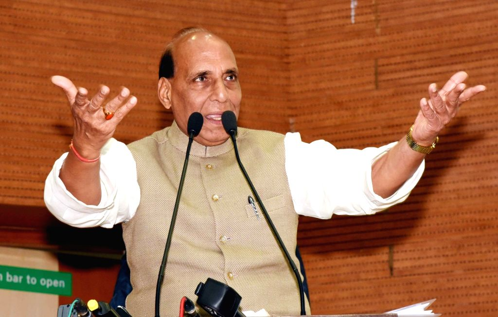 Union Home Minister and BJP leader Rajnath Singh addresses a party programme in Patna, on Feb 9, 2019. - Rajnath Singh