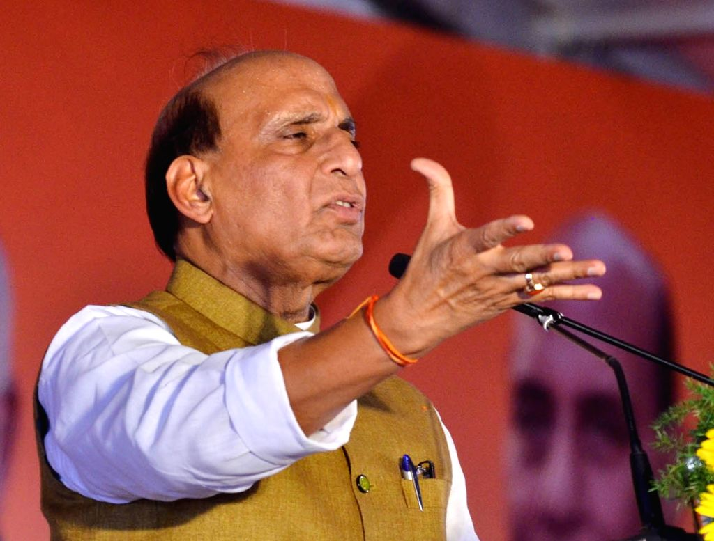 Union Home Minister and BJP leader Rajnath Singh addresses party workers in Mangaluru on March 9, 2019. - Rajnath Singh