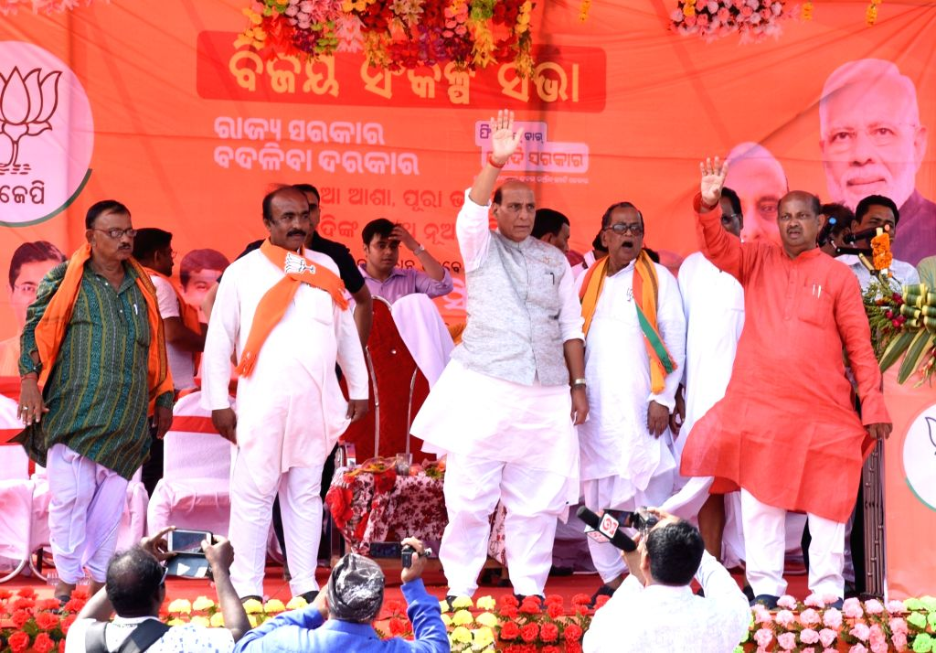 Union Home Minister and BJP leader Rajnath Singh during a public rally in Odisha's Bhadrak, on April 25, 2019. - Rajnath Singh