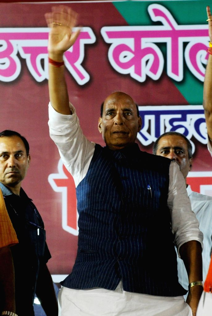 Union Home Minister and BJP leader Rajnath Singh during an election rally for the forthcoming Lok Sabha polls in Kolkata, on May 10, 2019. - Rajnath Singh