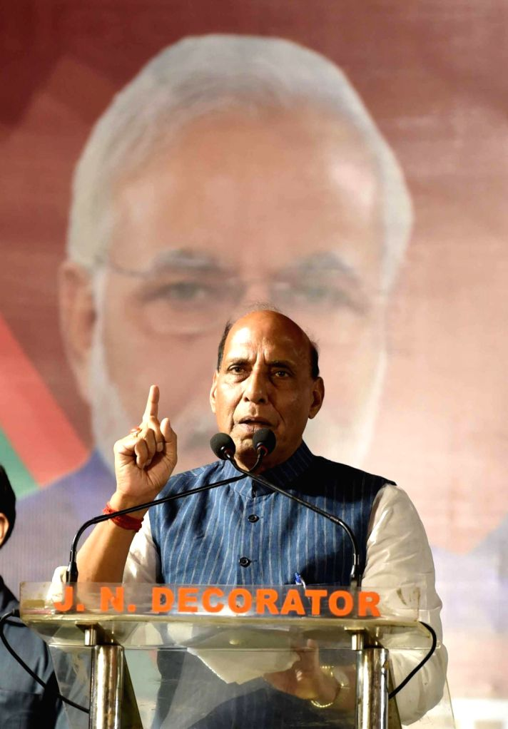 Union Home Minister and BJP leader Rajnath Singh addresses during an election rally for the forthcoming Lok Sabha polls in Kolkata, on May 10, 2019. - Rajnath Singh