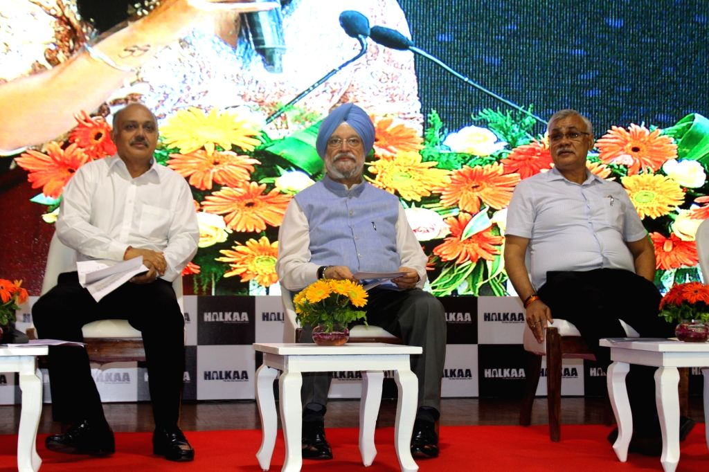 """Union Home Minister Hardeep Singh Puri  at the launch of upcoming film """"Halkaa"""" at NDMC Convention Center in New Delhi on Aug 6, 2018. - Hardeep Singh Puri"""