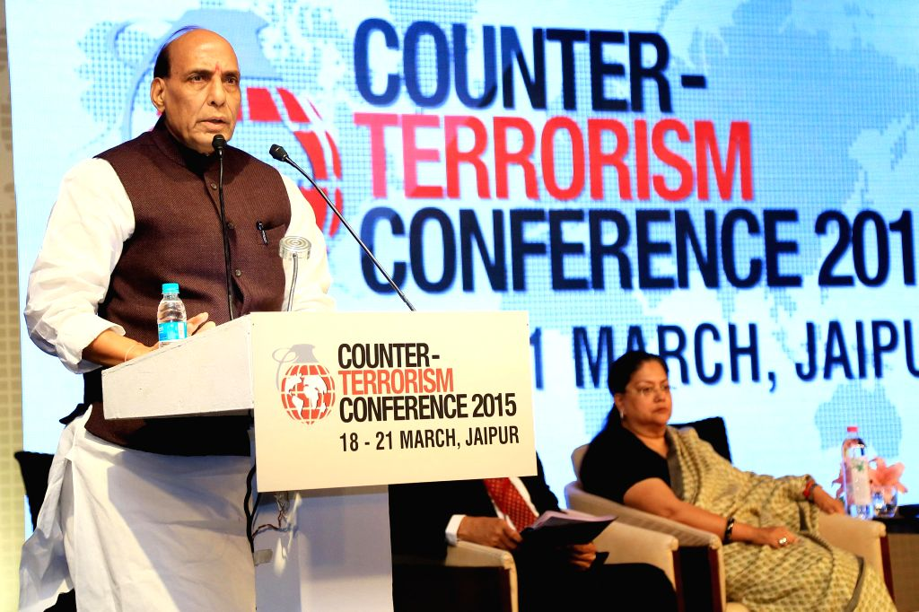 Union Home Minister Rajnath Singh addresses during the `Counter Terrorism Conference 2015` in Jaipur, on March 19, 2015. Also seen Rajasthan Chief Minister Vasundhara Raje. - Rajnath Singh