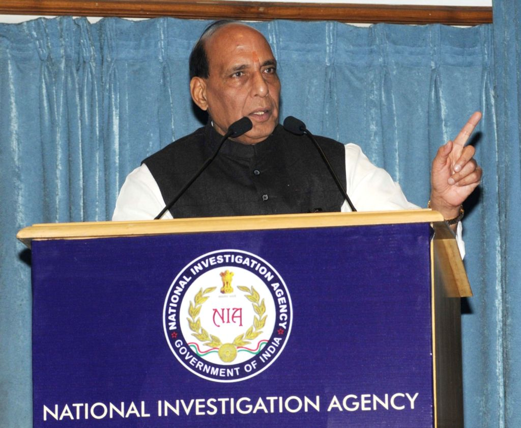 Union Home Minister Rajnath Singh addresses during a programme organised to celebrate the National Investigation Agency (NIA) Day, in New Delhi on Jan 19, 2016. - Rajnath Singh
