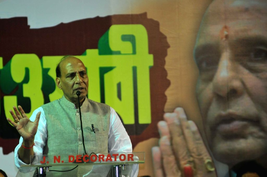 Union Home Minister Rajnath Singh addresses during an election campaign in Kolkata, on April 18, 2016. - Rajnath Singh