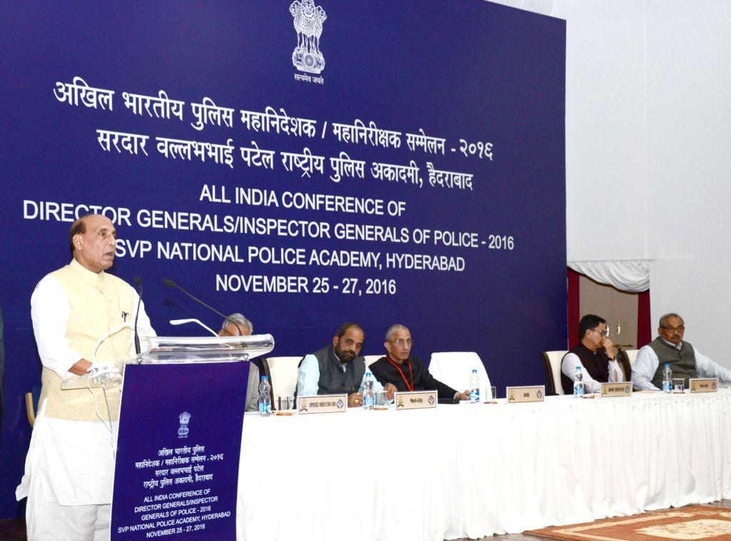 Union Home Minister Rajnath Singh addresses during the inauguration of the All India Conference of DGPs/IGPs, 2016, at Sardar Vallabhbhai Patel National Police Academy in Hyderabad on Nov ... - Rajnath Singh, Hansraj Gangaram Ahir and Kiren Rijiju