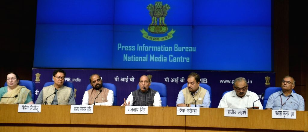 Union Home Minister Rajnath Singh addresses during a press conference on regarding achievements and initiatives of his department in New Delhi on June 3, 2017. Also seen Union MoS Home ... - Rajnath Singh