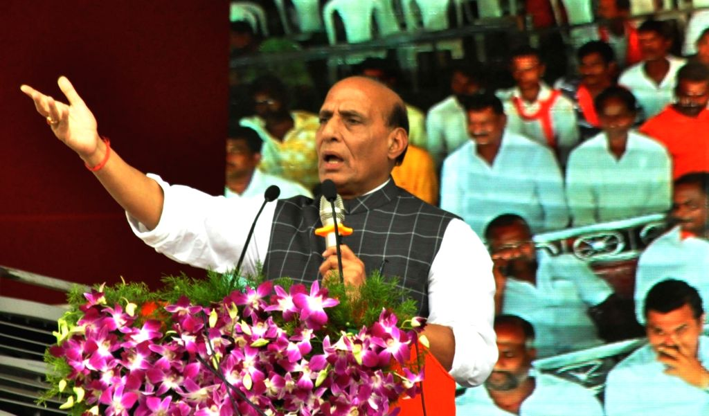 """Union Home Minister Rajnath Singh addresses during a programme on the occasion of """"Liberation Day"""" in Hyderabad on Sept 17, 2017. - Rajnath Singh"""