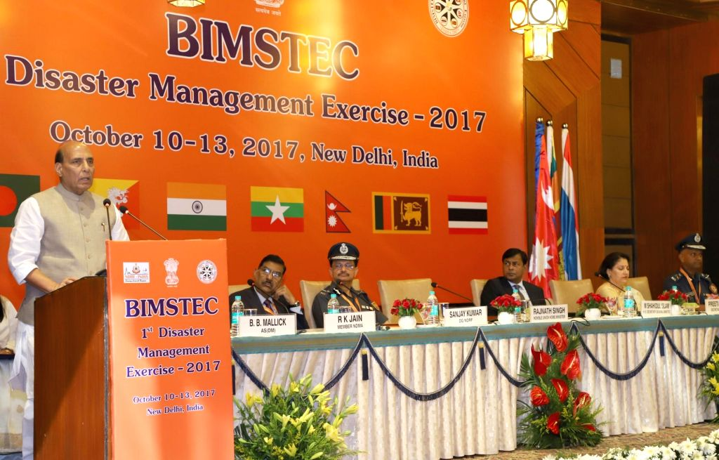 Union Home Minister Rajnath Singh addresses during the inauguration of the first BIMSTEC Disaster Management Exercise in New Delhi on Oct 10, 2017. Also seen Bay of Bengal Initiative for ... - Rajnath Singh and Sanjay Kumar