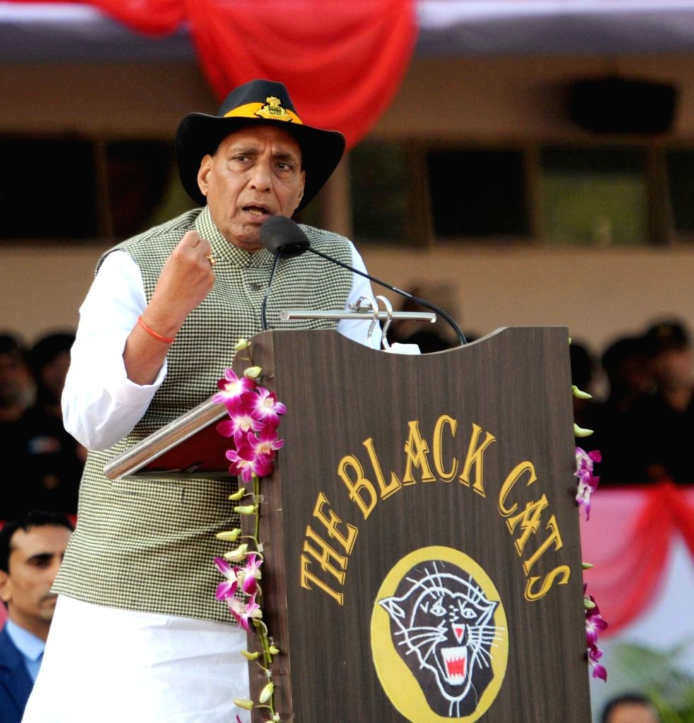 Union Home Minister Rajnath Singh addresses during the closing ceremony of the 8th All India Police Commando Competition at Manesar in Gurugram district of Haryana on Jan 20, 2018. - Rajnath Singh