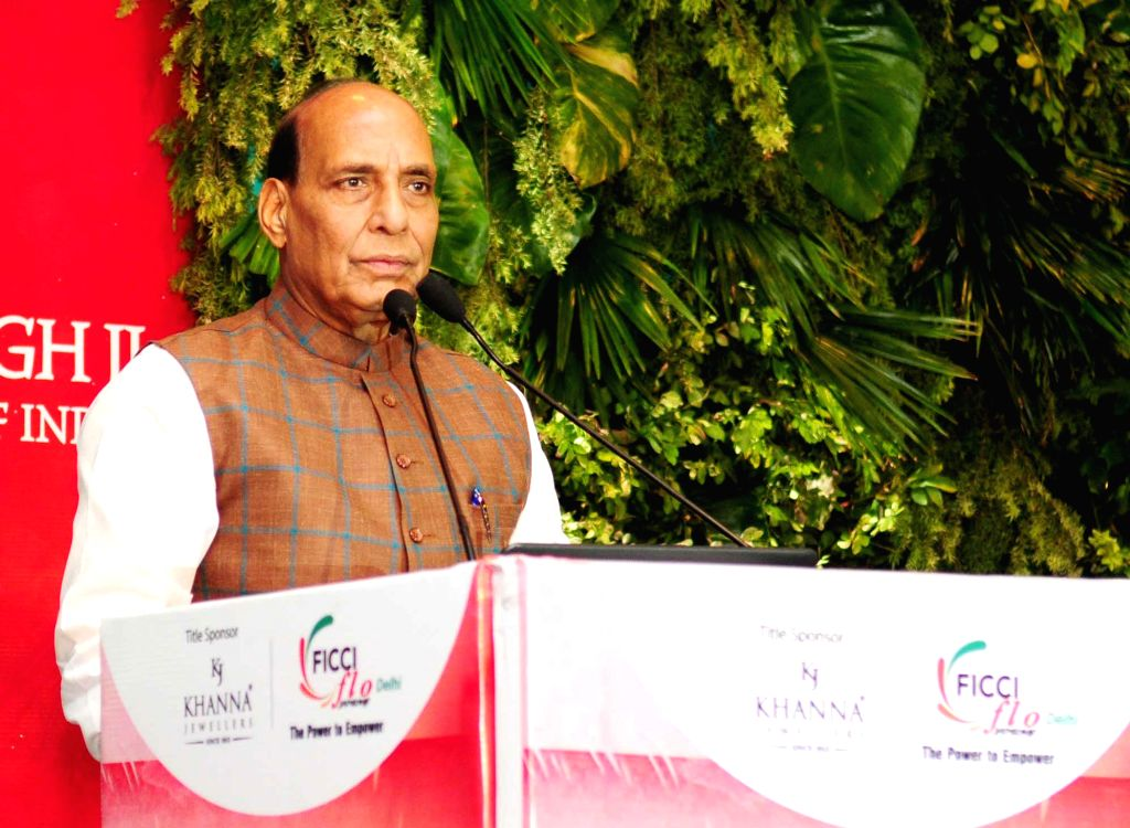 Union Home Minister Rajnath Singh addresses during the Young Women Achievers Awards function 2017-18 organised by the FICCI in New Delhi on April 6, 2018. - Rajnath Singh