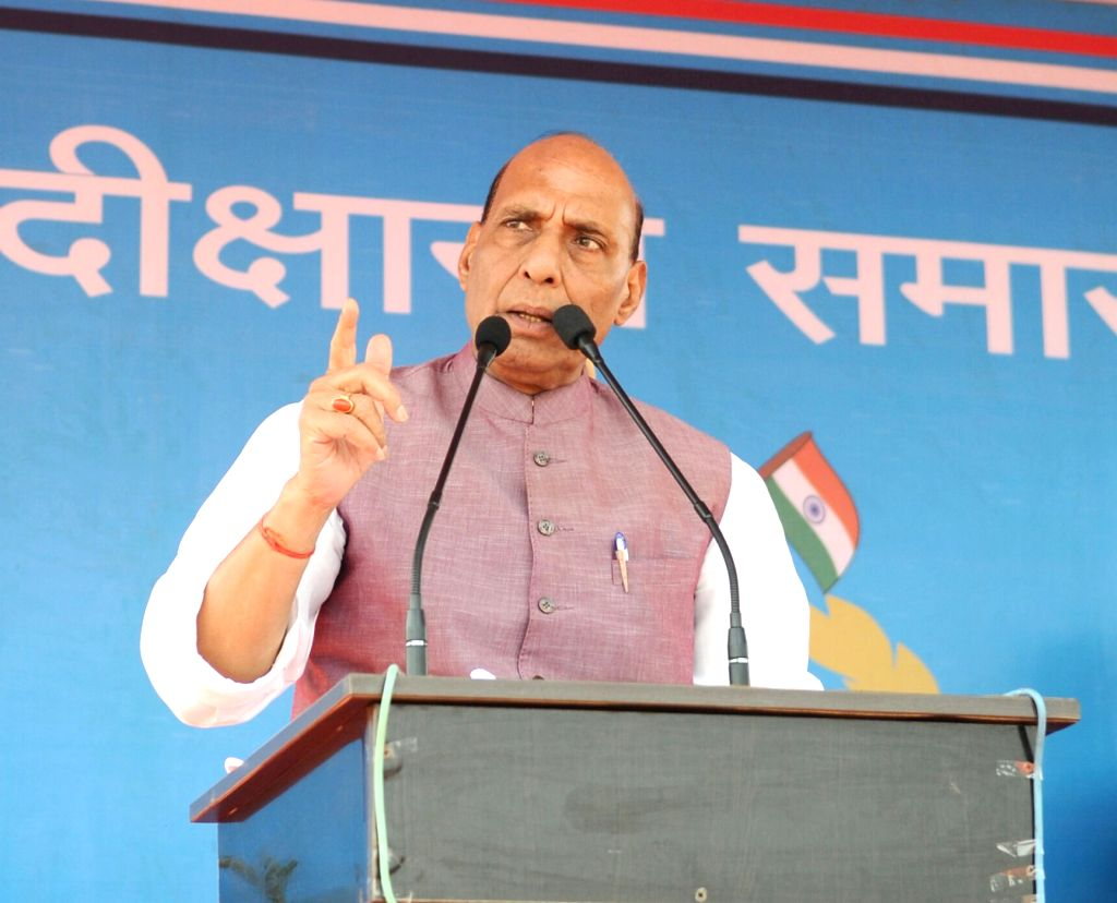 Union Home Minister Rajnath Singh addresses during the Passing Out Parade of the 'Bastariya Battalion' of CRPF in Ambikapur, Chhattisgarh on May 21, 2018. - Rajnath Singh