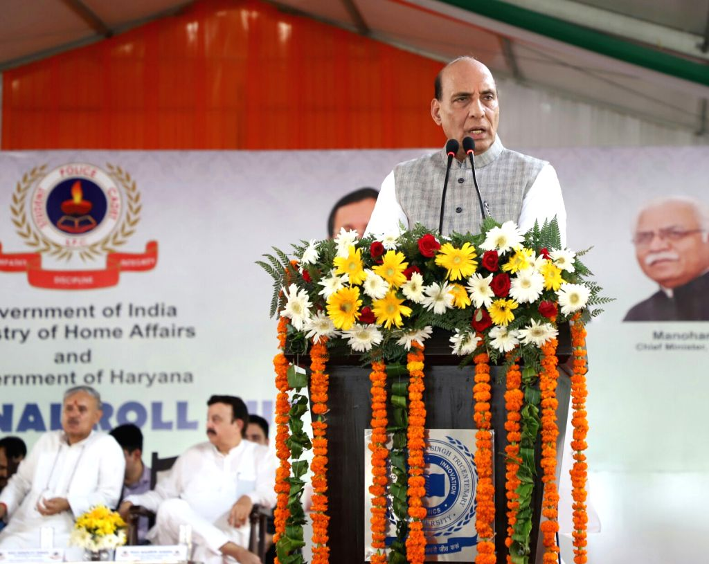 Union Home Minister Rajnath Singh addresses during the launch of Student Police Cadet (SPC) programme for nationwide implementation, in Gurugram on July 21, 2018. - Rajnath Singh