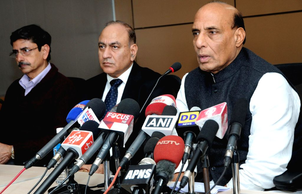 Union Home Minister Rajnath Singh addresses a press conference after visiting Bishwanath Chariali, in Sonitpur District and Kokrajhar, in Guwahati on Dec 25, 2014.