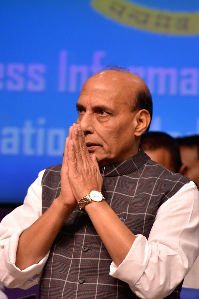 Union Home Minister Rajnath Singh addresses a press conference on regarding achievements and initiatives of his department in New Delhi on June 3, 2017. - Rajnath Singh