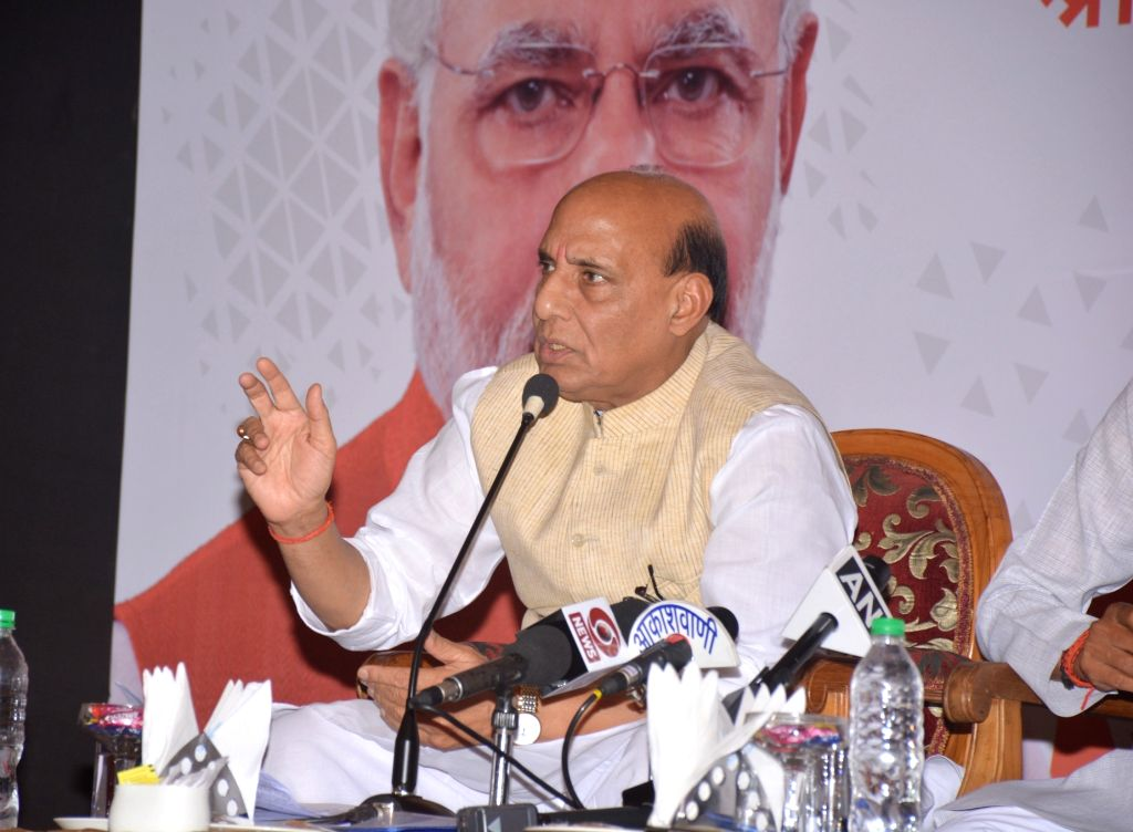 Union Home Minister Rajnath Singh addresses a press conference in Bhopal on May 31, 2018. - Rajnath Singh
