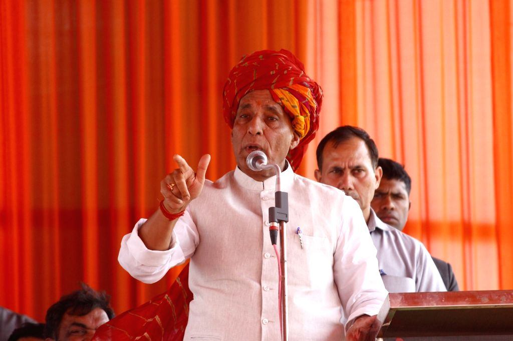 Union Home Minister Rajnath Singh addresses a public rally in Haryana's Bhondsi, on May 8, 2019. - Rajnath Singh